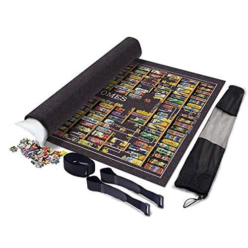 Puzzel Rolls-Opslag Vilt Mat, Jigroll Om 1500/2000/3000/6000 Piece, Milieuvriendelijk Materiaal Voor Puzzle Spelers Doos Met Koord Storage Bag,Black,2000Pcs
