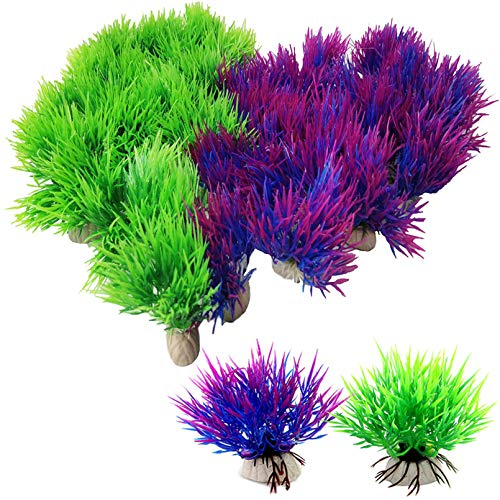 PINVNBY Künstliche Aquarium-Pflanzen für Aquarien, 40 Stück, kleine Kunststoff-Algen, Gras, Wasserpflanzen, Dekoration, Haustier-Lebensraum, Wasserzubehör für Betta-Fische, Reptilien, Amphibien