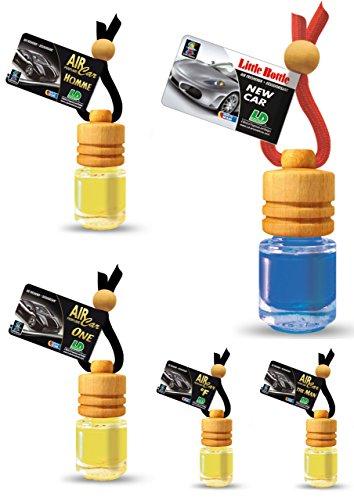 5 Stück elegante Duftflakons fürs Auto Autoduft Lufterfrischer Topseller maskuliner Mix: Homme, One, °F, New Car,The Man