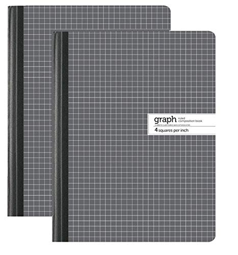 1InTheOffice Graph Composition Book, 9.75' x 7.5' Graph Paper Notebook, 100 Sheets '2 Pack'