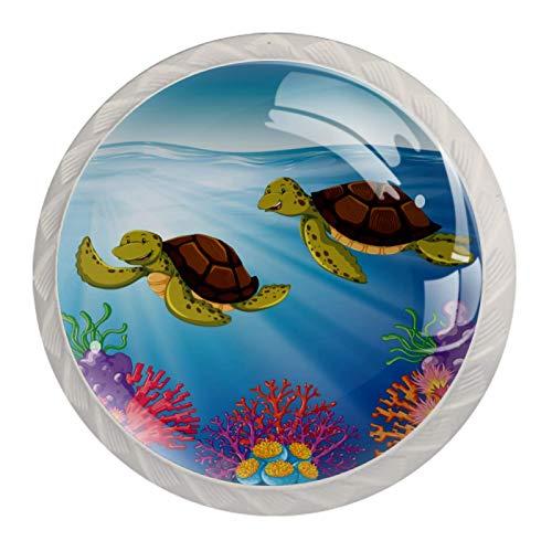 KAMEARI Round Cabinet Knob Two Turtles Swimming Coral Ocean Sea Set of 4