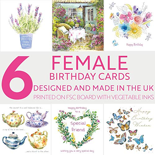Birthday Cards for Her   Female Birthday Cards Multipack of 6 Designs with...