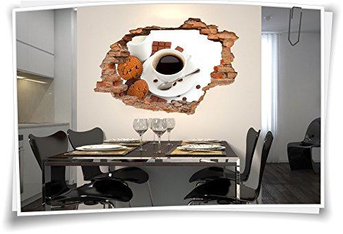Medianlux 3D muurdoorbraak muurschildering muursticker koffie muffins chocolade melk mok
