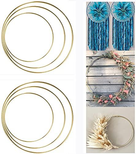 ALEMIN 6 Stück Metallring zum Basteln 20cm 25cm 30cm Gold Blumenkranz Reifen Makramee Ringe Mobile Ring Floral Hoops Traumfänger Ring, Hochzeitskranz, Wandbehänge