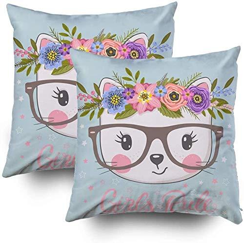 Juego de 2 fundas de almohada de 45,7 x 45,7 cm, diseño de gato con corona floral