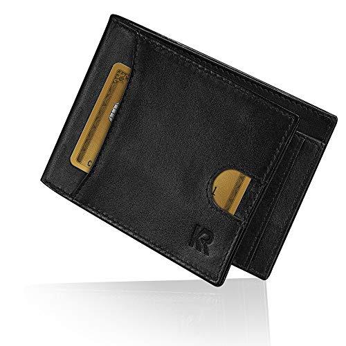 KRONIFY RFID Geldbeutel Herren klein mit Münzfach – TÜV geprüfter RFID Schutz I Geldbörse Herren aus hochwertigem Rindsleder I Slim Wallet I Portemonnaie Schwarz I Portmonee Herren mit Geschenk Box