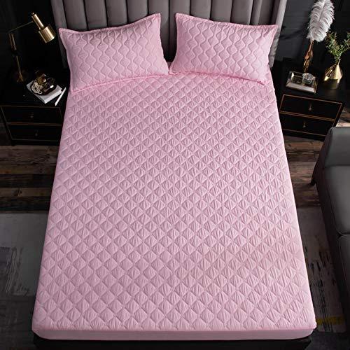 PLIENG Protector De Colchón Impermeable Funda De Colchón Transpirable 100% Algodón Funda De Colchón Transpirable Topper De Colchón,Pink-150x200cm