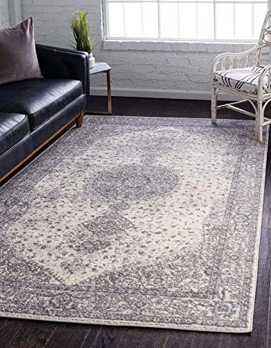 Unique Loom Bromley Collection Vintage Traditional Medallion Border Gray Area Rug (7' 0 x 10' 0)