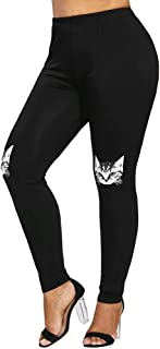 JOFOW Women's Leggings,Casual Skinny Solid Cat Print High Waist Tunic Workout Gym Sport Jogger Pencil Yoga Pants for Women