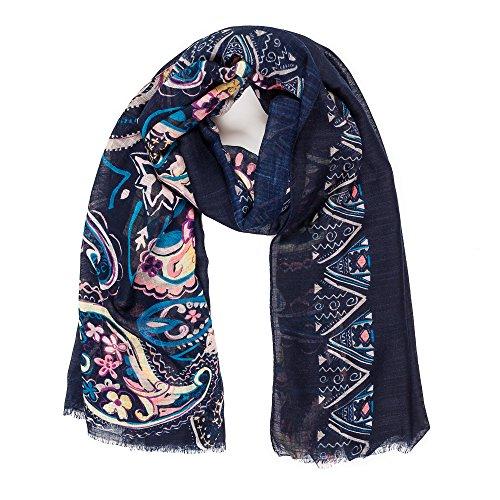 Bufanda para mujer con diseño de Paisley, ligera, de cachemira, moda otoño-invierno, tipo chal - azul - Talla única