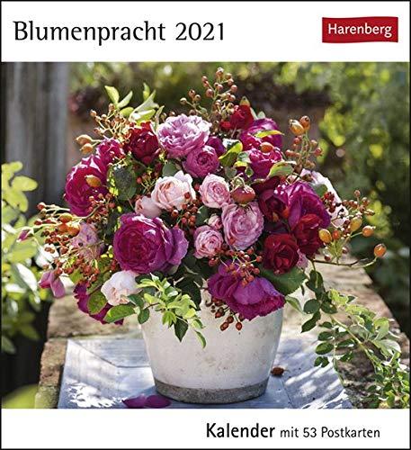 Blumenpracht Postkartenkalender 2021 - Tischkalender mit Wochenkalendarium - 53 perforierte Postkarten zum Heraustrennen - zum Aufstellen oder Aufhängen - Format 12 x 15 cm