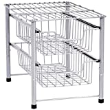 AmazonBasics 2-Tier Sliding Drawers Basket Storage Organizer, Silver