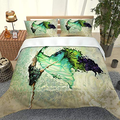 RQXRTR Super King Size Duvet Cover Sets 3 Pieces 3D Abstract Ballet Girl Printed Bedding Sets Adult Quilt Covers With Zipper Closure With 2 Pillowcases, Soft Easy Care Microfiber 260X220cm