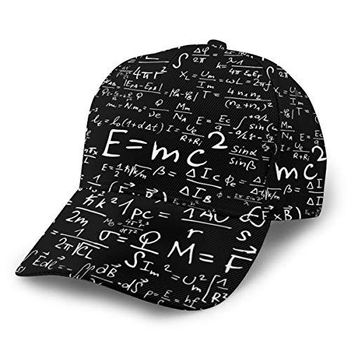 NA Einstein Physics Formula Science Geek schwarz weißer Stoff schwarz Unisex verstellbar Athletic Trucker Hat Baseball Cap Dad Hat Neueste Mode