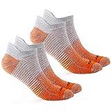 Andake Chaussettes Running Pro, Coolmax Lot de 2 Paires Chaussettes Courtes de Sport en Coton pour Les Hommes et Femmes Noir Bleu Orange