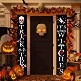 RJVW Halloween Decorations Outdoor,Halloween Banners,Trick or Treat & It's October Witches Halloween Signs Porch Party Theme Decorations, Halloween Welcome Signs