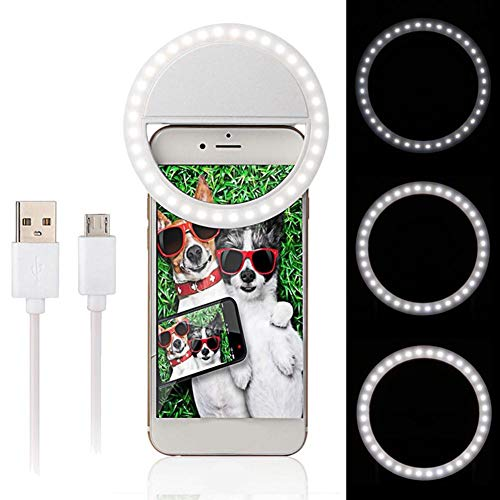Clip-on Selfie Ring Light, USB oplaadbare make-uplamp, Invullicht met 36 LED's voor Smart Camera Camera Photography Livestream