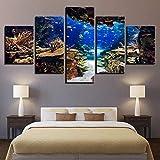 CDERFV Leinwand Wandkunst Bilder Unterwasser See Fisch