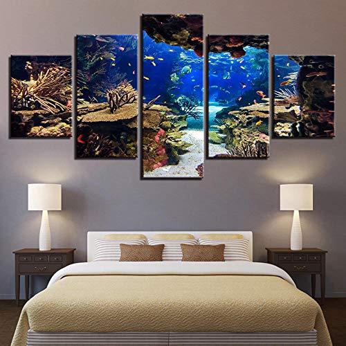 FYBSNDY Strand Meer Sonnenaufgang Leuchtturm Tropen 5 Wandbilder Wohnzimmer Leinwand Gemälde Künstler Residenz Dekoration 20X35Cmx2 20X45Cmx2 20X55Cmx1 Kein Rahmen