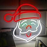 Letrero de Neón de Papá Noel Luces de Neón de Navidad Luz de pared de Neón LED Luz de Noche de Neón de Acrílico para el Festival de Navidad Decoraciones para el Hogar Letrero de Fiesta de Bar