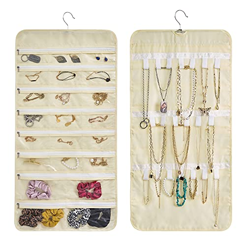 Vecord Hanging Jewelry Organizer Closet Wall Double sided Visual Storage with Dustproof Zipper 22 pocket 21 sticky hook Beige