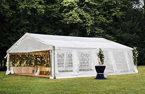 Decors-A 16' x 32' Heavy Duty Outdoor Wedding Party Tent Carport Canopy Garage Tent Shelter w/Peak Top & Removable Sidewalls, White