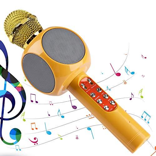 Herefun Bluetooth Karaoke Mikrofon, Tragbarer Karaoke Lautsprecher Kinder Erwachsene Drahtloses, Geburtstag/Weihnachten Geschenk/Home/KTV/Party, kompatibel mit Android/IOS, PC (Gelb)