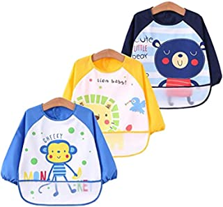 Toddler Baby Waterproof Sleeved Bib &Apron for Kids Feeding Painting Out door Anti-Dirty, Bib with Sleeves&Pocket, 6-36 Months ,Set of 3 Soft material