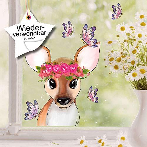 Wandtattoo-Loft Fensteraufkleber REH mit Blumenkranz und Schmetterlingen wiederverwendbar Fensterbild
