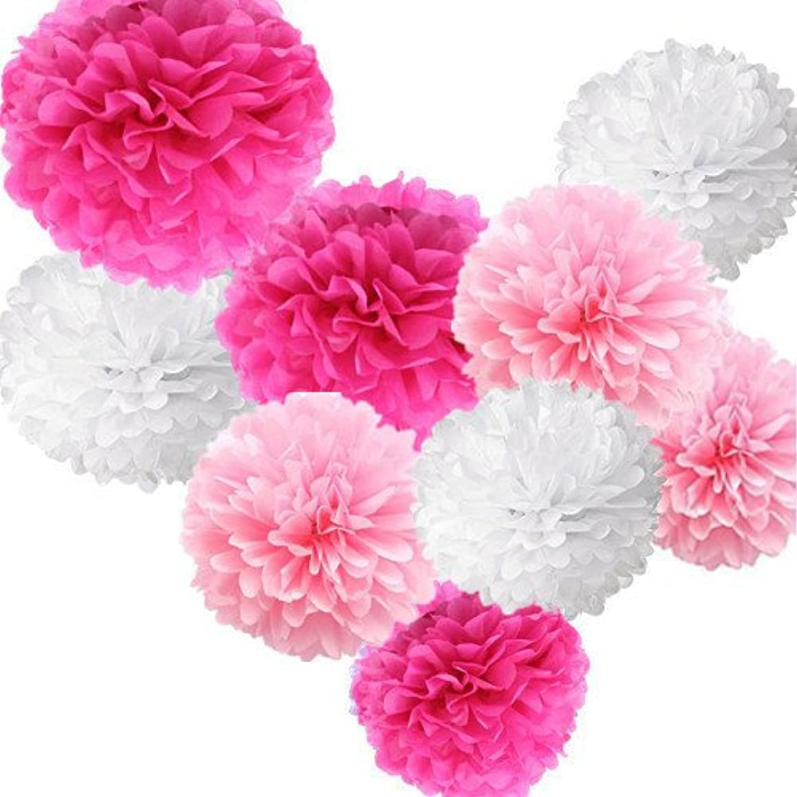 Fonder Mols Large Tissue Paper Flowers Tissue Pom Poms Set Diy Crafting for Wedding, Birthday, Baby Shower, Bachelorette, Nursery Decor (9pcs, White Pink Fushia)