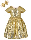 ANATA Girls Sparkle Party Dress Summer Bridesmaid Wedding Gown for Toddler Baby Sequin Short Sleeve Princess Dresses Solid Color Christmas Thanksgiving Day Gold 01 6-7Years