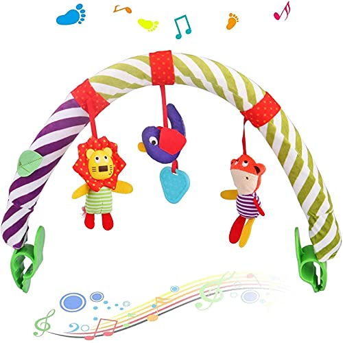 Sunny Stroll Activity Arch with Rattle Toys, 0 Month +, Universal Attachment Clips Fit any Pram, Pushchair or Baby Car Seat, Meadow Days Activity Cloth Animal Toy Pram Activity Bar with Rattle/Squeak