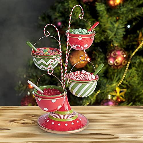 Weihnachten Christmas Dessert Ständer, Weihnachtsdessert Candy Basket, Weihnachten Snack-Teller, Snack Serviertablett, Snackschale, Cupcake-Halter, Obst-Teller für Weihnachten, Weihnachtsdekorationen