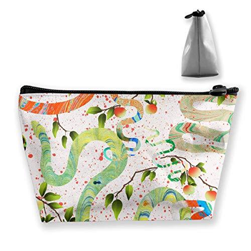 Snake Rainbow Makeup Bag Große trapezförmige Aufbewahrung Reisetasche Waschen Kosmetikbeutel Stifthalter Reißverschluss Wasserdicht