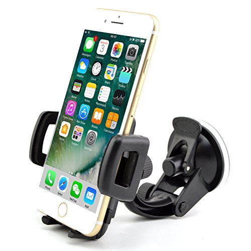 Handy-Halterung für Autos, Universalgröße, One-Touch-Bedienung, zur Befestigung an der Windschutzscheibe, für iPhone 7 / 6S / 6 / 5S / 5C / 4S / 4 / 3 GS, Samsung Galaxy Note II S5 / S4 / S3 / Note Epic Touch 4G Nokia Lumia 900 HTC One X EVO 4G Google Nexus, Blackberry Torch LG Revolution