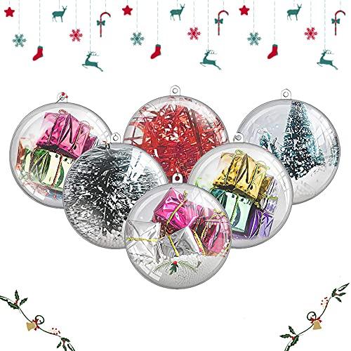 8 CM/20 Pezzi Trasparenti Palline di Natale Pallina Trasparente da Riempire Palline Sfere Apribili da Riempire Decorazione Natale per Albero Natale Addobbi per Matrimonio, Battesimo