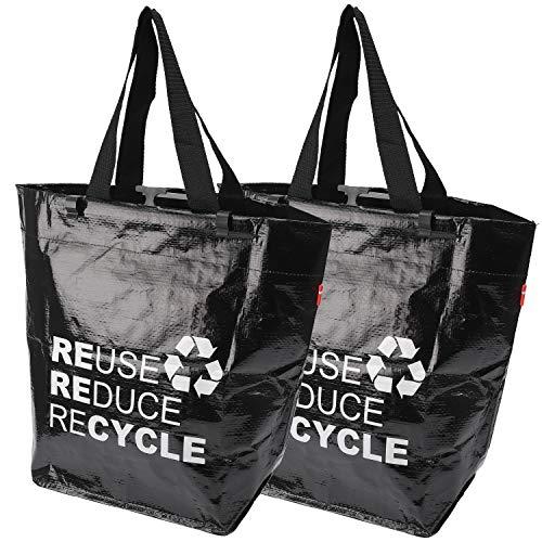 BikeZac Fahrrad Shopper Set | Fahrradtasche | Einkaufstasche aus Kunststoff | Schwarze Gepäckträgertasche | Falttasche | Einkaufswagen Tasche Recycling | Mehrwegtasche | Bikezac 2.0 Recycle 2 x