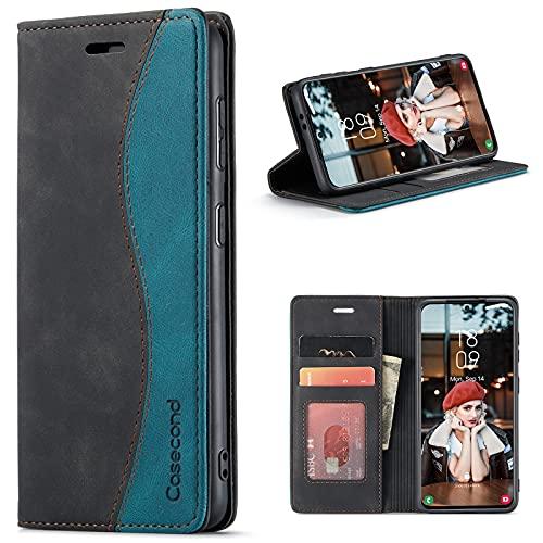 Hüllecond für Xiaomi Redmi Note 10 5G /Poco M3 Pro 5G Hülle Handyhülle Leder Flip Hülle Magnetisch Klappbar Kartenfach Klapphülle Lederhülle für Männer Frauen RFID Schutzhülle Schwarz & Blaugrün