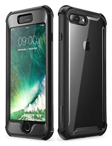 i-Blason iPhone 8 Plus Case, iPhone 7 Plus Case, [Ares] Full-Body Rugged Clear Bumper Case with Built-in Screen Protector for Apple iPhone 8 Plus/Apple iPhone 7 Plus (Black)