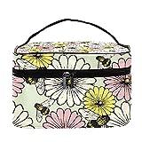 Bolsa de maquillaje de viaje con diseño de margaritas vintage y flores y abejas, bolsa de maquillaje grande, organizador con cremallera, para mujeres y niñas