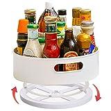 Soporte para Especias Lazy Susan Organizador Giratorio Armarios Cocina, Plato Giratorio de Plástico para Condimentos,Blanco