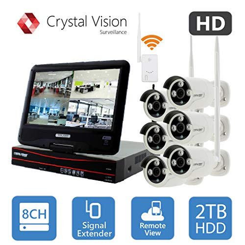 (2020 Upgraded Ver.) [8CH] Crystal Vision CVT9608E-3010W All-in-One True HD Wireless Surveillance System NVR CCTV w/ 2TB HDD, Built-in Monitor & Router, Camera Auto Pair