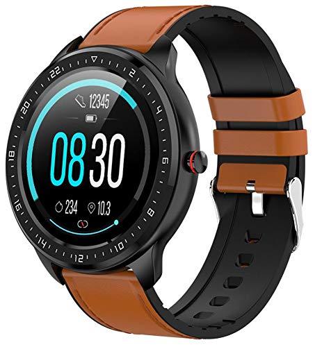 YGMDSL Smart Sports Watch Reloj Inteligente Wristwatch Smart Watch Men IP68 Impermeable Deportes Fitness Smartwatch con Ritmo Cardíaco Actividad De Presión Arterial Rastreador De Fitness (Brown)