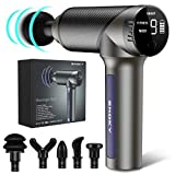 Snoky Massage Gun, Deep Tissue PercussionMuscle Massager, Fitness and MEDI Mode, Handheld Electric Body Massager Sports Drill Portable Super Quiet Brushless Motor, Black