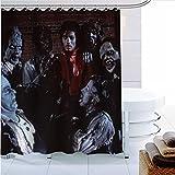JXCSGBD Polyester Fabric Michael Jackson Shower Curtain Modern Bathroom Curtain Waterproof Bath Curtain 180×200cm