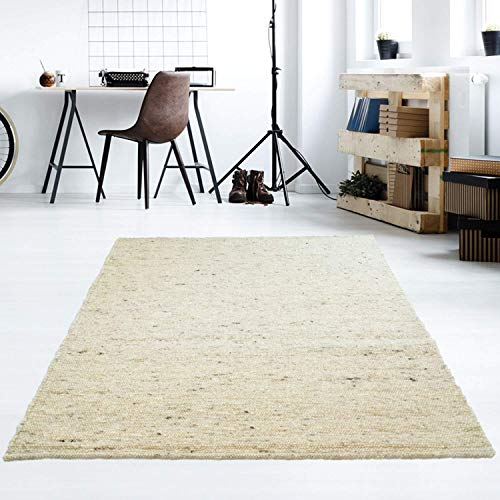 Taracarpet Moderner Handweb Teppich Alpina handgewebt aus Schurwolle für Wohnzimmer, Esszimmer, Schlafzimmer und die Küche geeignet (090 x 160 cm, 60 Beige meliert)