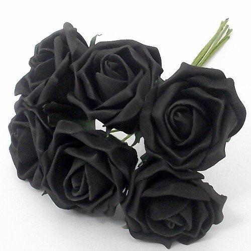 6 Noir Grande taille en mousse roses bouquets de mariage ~ Décoration de célébrations de fêtes ~