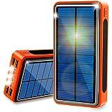 ソーラーチャージャー 40000mAh モバイルバッテリー 超大容量 QuickCharge ソーラー充電器 Lakko 充電バッテリー 急速充電 携帯充電器 ソーラーパネル IPX6防水 LEDライト 4台同時充電 スマホ 太陽エネルギーパネル 4出力(USB 5V/2.4A)と3入力(Lightning/Typec/Micro 5V/2.1A) 太陽光で充電でき iPhone / iPad / Android Galaxy Xperia 各種機種対応 地震防災 災害 旅行 アウトドアに大活躍