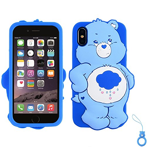 Artbling Case for iPhone XR 6.1,Silicone 3D Cartoon Animal Cover,Kids Girls Teens Cool Lovely Cute Cases,Kawaii Soft Gel Rubber Unique Character Protector+Finger Ring for iPhonXR (Rain Bear)