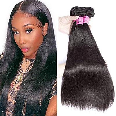 ALIANNA Straight Hair Bundles with Closure 100% Brazilian Straight Human Hair 3 Bundles with Lace Closure Free Part Virgin Hair Weave Natural Color
